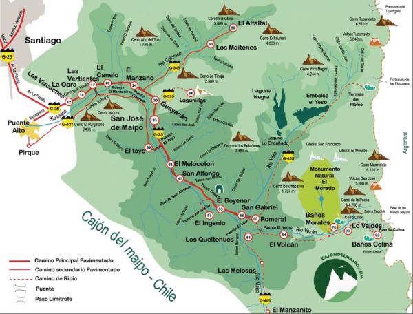 Mapa Cajón del Maipo