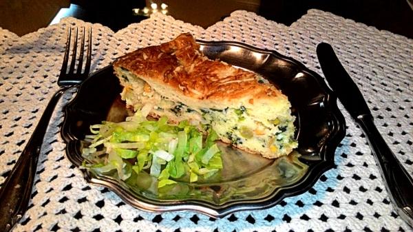 Torta de queijo branco e espinafre